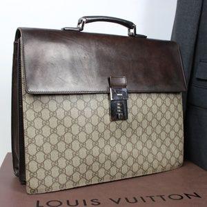 Gucci Supreme Leather Canvas Attache Briefcase